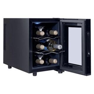 Costway 6 Bottle Thermoelectric Wine Cooler Freestanding Temperature Display Glass Door