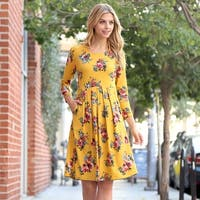 RIAH FASHION Women's Empire Waist Floral Pleated Pocket Dress
