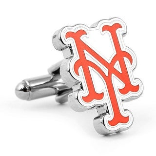 Rhodium Plated Silver New York Mets Cufflinks