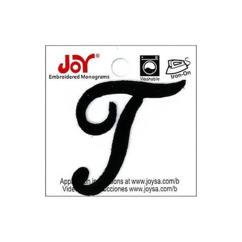 """Joy Applique Letter Iron On Script 1.5"""" Black T"""
