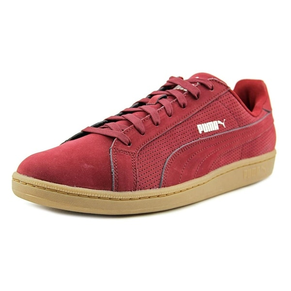 Puma Smash Perf Men Round Toe Leather Burgundy Sneakers