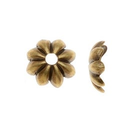 Antiqued Bronze Plated Small Flower Bead Caps 6mm (12)