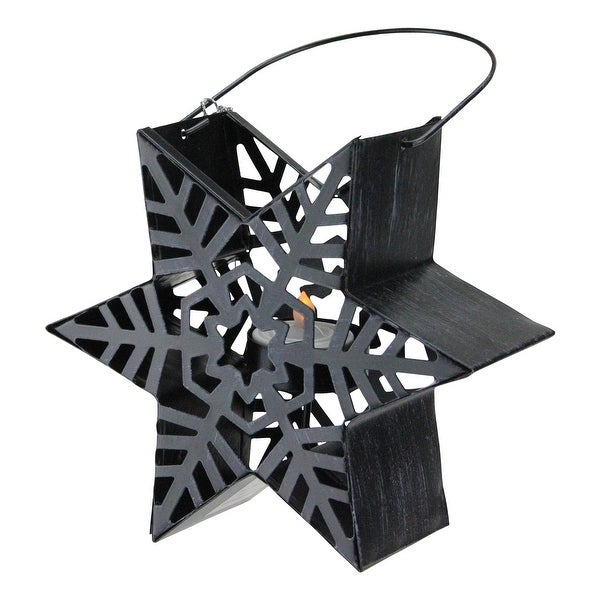 "9.5"" Alpine Chic Distressed Style Black Snowflake Star Design Tea Light Candle Holder Lantern. Opens flyout."