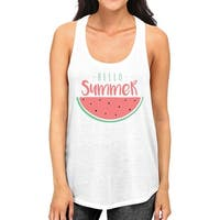 Hello Summer Watermelon Womens White Graphic Tank Top For Summer