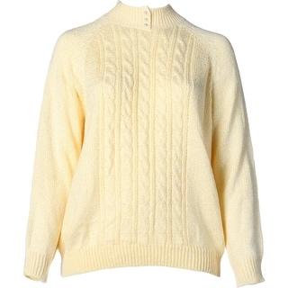 Karen Scott Womens Plus Cable Knit Mock Neck Pullover Sweater