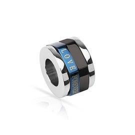 Stainless Steel Duo Tone Blue and Black Plated 'LOVE FOREVER' Cylinder Spinner Pendant (10 mm Width)