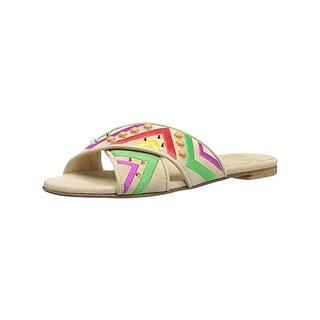 Stuart Weitzman Womens Button Candy Slide Sandals Studded Casual