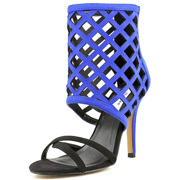 Chelsea & Zoe Pansy Open-Toe Canvas Heels