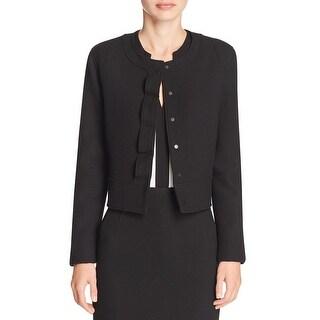 Elie Tahari Womens Geneva Cropped Jacket Cropped Long Sleeves