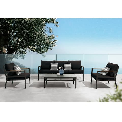 Higold - Gloria 4 Pieces Conversation Sofa Set for Outdoor Using, with Grade A Teak, Matte Charcoal Aluminum Frame Finish