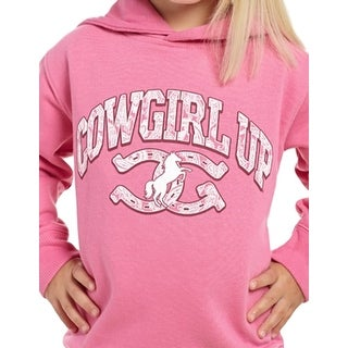 Cowgirl Up Western Sweatshirt Girls Toddler Hoodie Horseshoe Pink T225