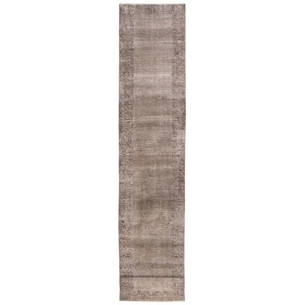 ECARPETGALLERY Hand-knotted Color Transition Grey Wool Rug - 2'7 x 14'0. Opens flyout.