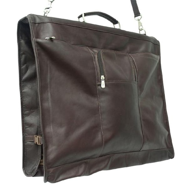 d4a1032d7754 Shop Piel 9428-CHC Leather Garment Bag with Detachable Hook - Chocolate -  Free Shipping Today - Overstock - 25154906