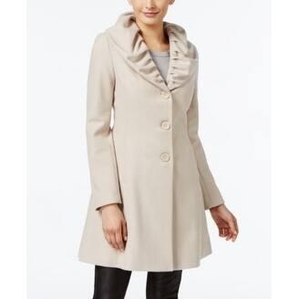 T Tahari Ruffled Skirted Walker Coat Macrame Medium - Beige - M