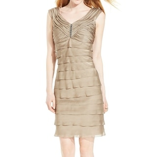 London Times NEW Beige Embellished Neck Piece Dress Women's 8 Tiered