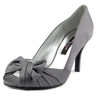 Nina Forbes Women Peep-Toe Canvas Gray Heels