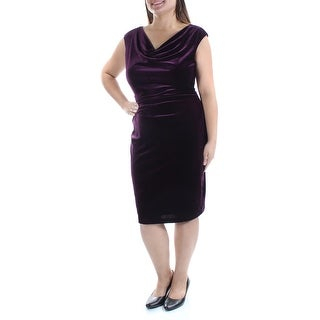 JESSICA HOWARD $89 Womens New 1104 Purple Gathered Velvet Cap Sleeve Dress 8 B+B