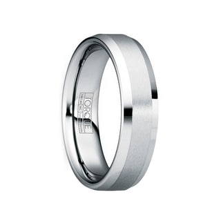 REGULUS Satin Raised Tungsten Band With Polished Beveled Edges By Crown Ring
