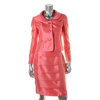 Le Suit Womens Petites City Blooms Shantung 2PC Skirt Suit