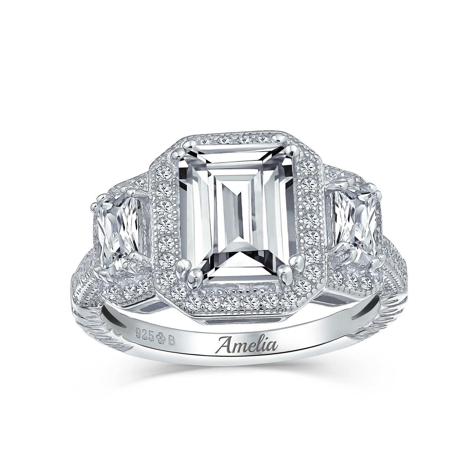 3ct Halo 3 Stone Emerald Cut Cz Engagement Ring Cz 925 Sterling Silver Overstock 17989578
