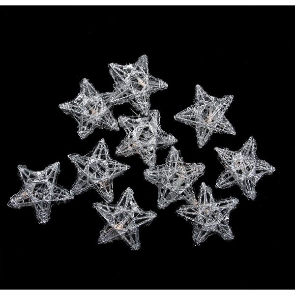 Set of 10 LED Lighted Battery Operated Spun Glass Star Christmas Lights - Warm Clear - silver