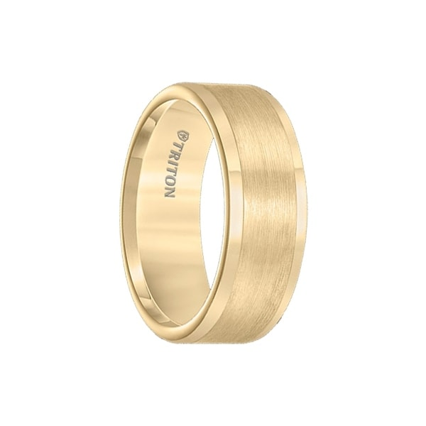 BERGMAN Flat Yellow Gold Plated Tungsten Carbide Ring with Satin Finished Center and Polished Edges by Triton Rings - 8mm