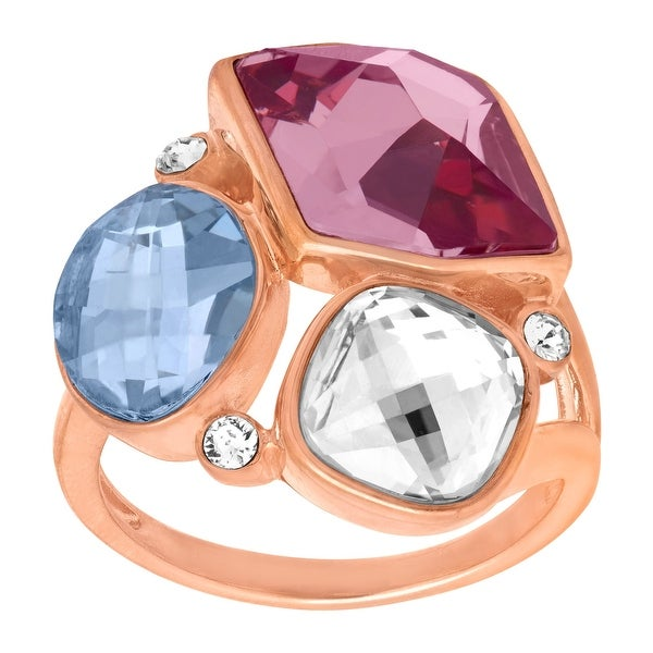 Crystaluxe Cluster Ring with Swarovski Elements Crystals in 18K Rose Gold-Plated Sterling Silver - Purple
