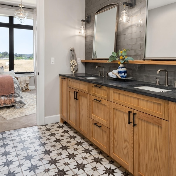 SomerTile 17.63x17.63-inch Royals Estrella Nero Ceramic Floor and Wall Tile. Opens flyout.