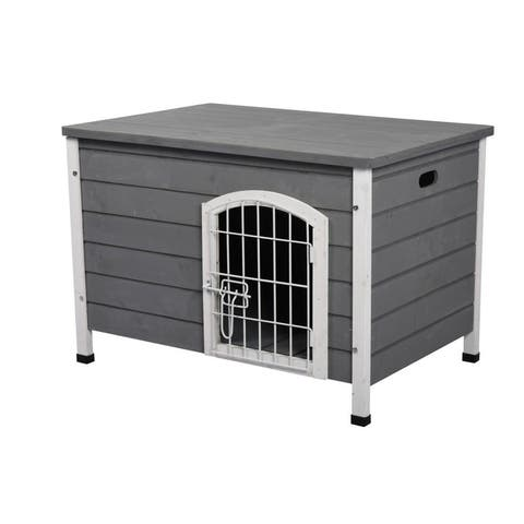 PawHut 21'' Wooden Decorative Dog Cage Kennel Wire Door with Lock Small Animal House with Openable Top Removable Bottom Gray