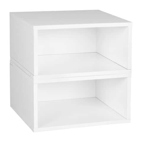 Noble Connect Storage Set- 2 Half Size Cubes- White Wood Grain
