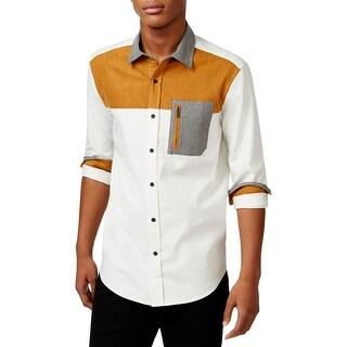 Sean John Mens Button-Down Shirt Colorblock Long Sleeves - 3Xl