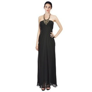 Aidan Mattox Elegant  Silk Chiffon Halter Beaded Evening Gown Dress - 4