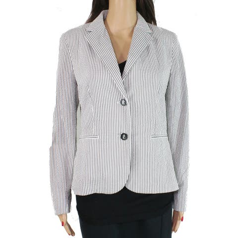 Lauren by Ralph Lauren Women's Blazer Gray Size 4 Seersucker Striped