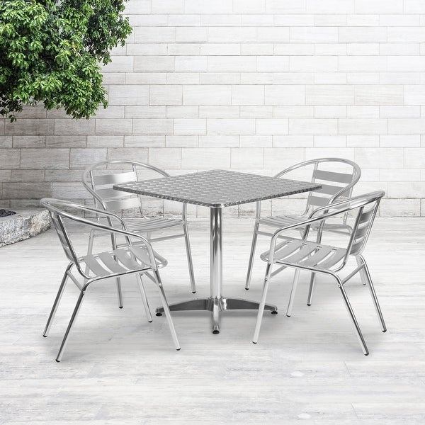 """31.5"""" Square Aluminum Indoor-Outdoor Table Set with 4 Slat Back Chairs. Opens flyout."""