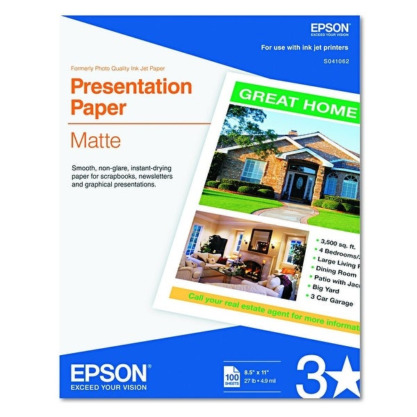 "Epson S041062 Presentation Paper Matte 8.5"" X 11"" Letter, Pack Of 100 Sheets"