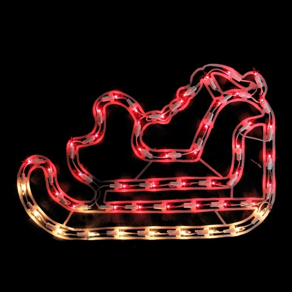 "17.5"" Red & Clear Lighted Santa's Sleigh Christmas Window Silhouette Decoration"
