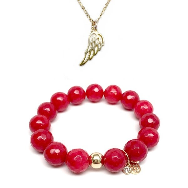 "Red Quartz 7"" Bracelet & Angel Wing Gold Charm Necklace Set"