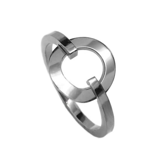Loralyn Designs Simple Stainless Steel Silver Open Circle Ring