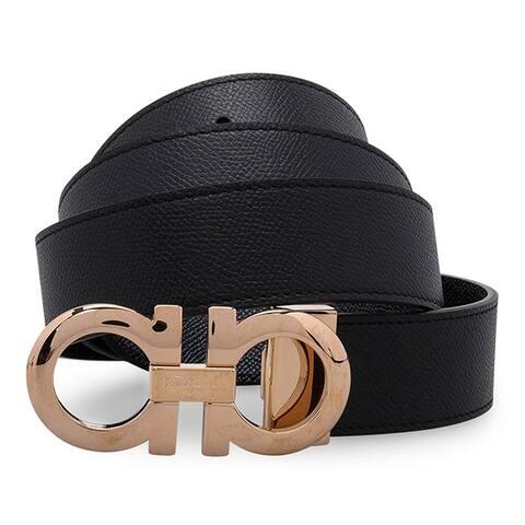 Salvatore Ferragamo Black Pebbled Gold Shiny Buckle Belt, Adjustab