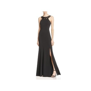 JS Collections Womens Evening Dress Beaded Illusion Scoop Back