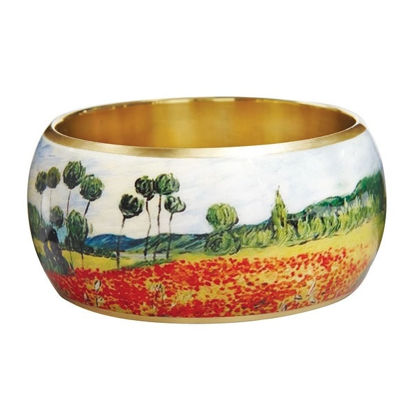 "Women's Van Gogh Poppy Field Bangle Bracelet - 1 1/2"" Wide Lacquered On Brass - Multicolored"