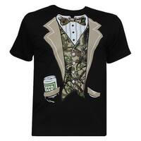Mens Black Camo Tuxedo Short-Sleeve T-Shirt