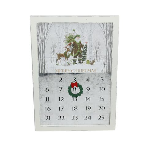 """15.75"""" Rustic White Magnetic Hanging """"Merry Christmas"""" Countdown Advent Calendar - N/A"""
