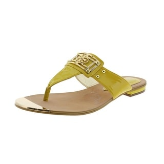 Isola Womens Patent Leather Embellished Thong Sandals - 5 medium (b,m)