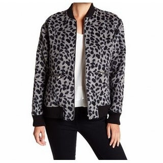 Ro & De NEW Gray Womens Size Medium M Leopard Print Bomber Jacket