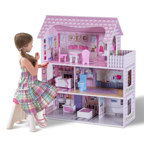 Gymax 28'' Pink Dollhouse w/ Furniture Gliding Elevator Rooms 3 Levels