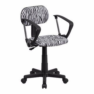Offex Black and White Zebra Print Computer Chair with Arms [OF-BT-Z-BK-A-GG]