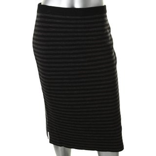 Eileen Fisher Womens Petites Pencil Skirt Striped Site Slits