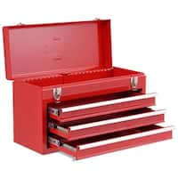 Costway Portable Tool Chest Box Storage Cabinet Garage Mechanic Organizer 3 Drawers - Red