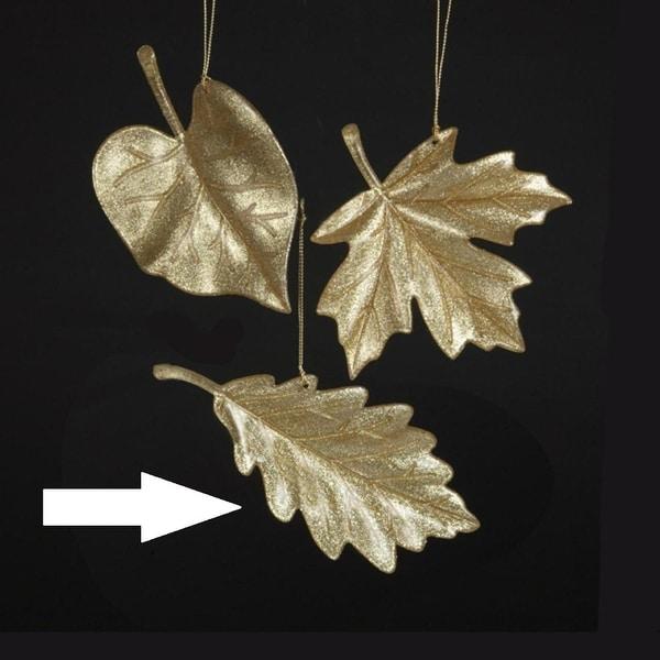 "3"" Rich Elegance Glittering Gold Oak Leaf Christmas Ornament"
